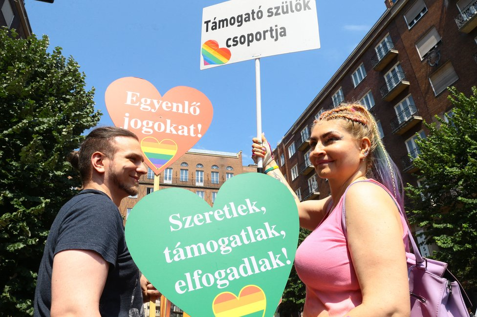 Participants in the lesbian, gay, bisexual and transgender (LGBT) Pride Parade in Budapest on July 24, 2021.