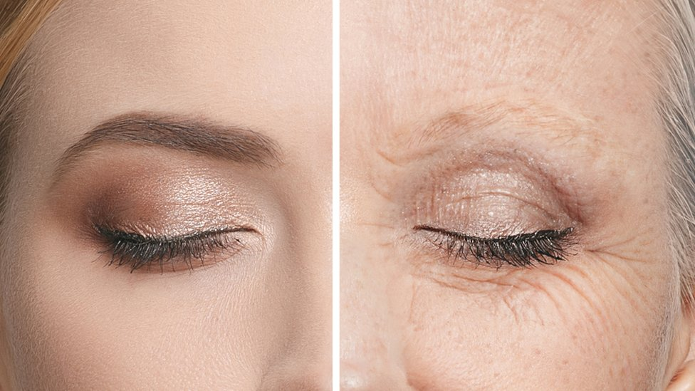 Comparación de los ojos de una persona mayor, y de una persona joven.