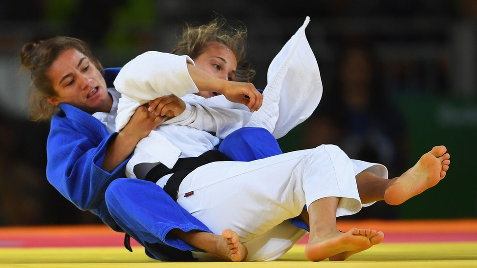 Judo final between Kosovan Majlinda Kelmendi and Italian Odette Giuffrida