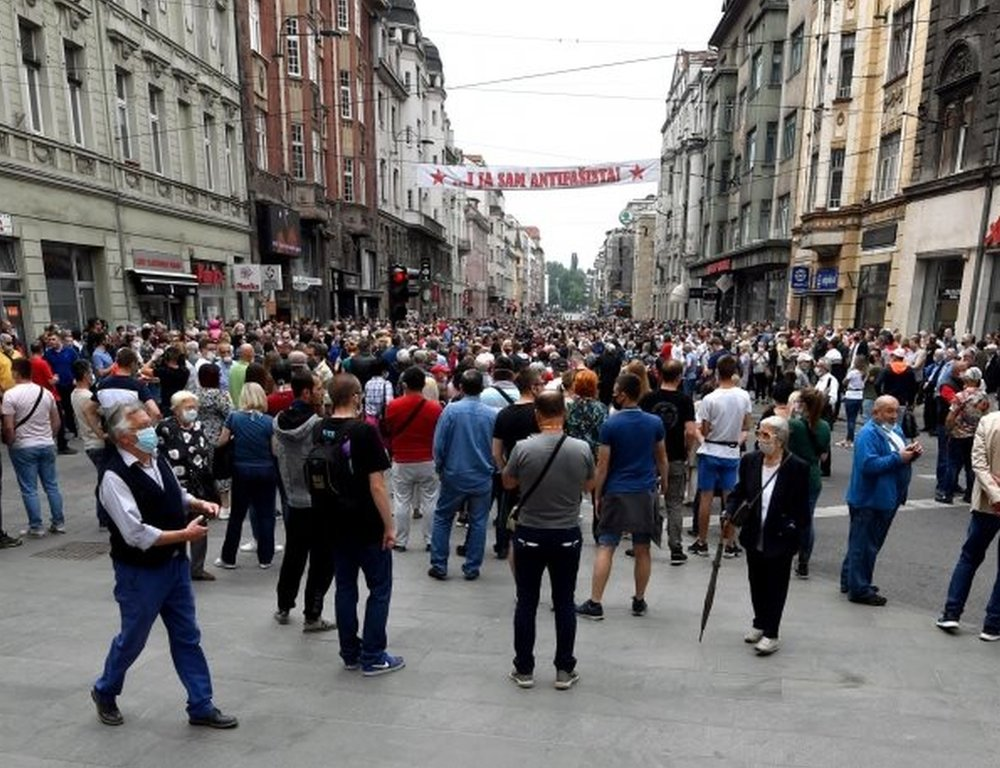 Anti-fascist protesters in Sarajevo's city centre. Photo: 16 May 2020