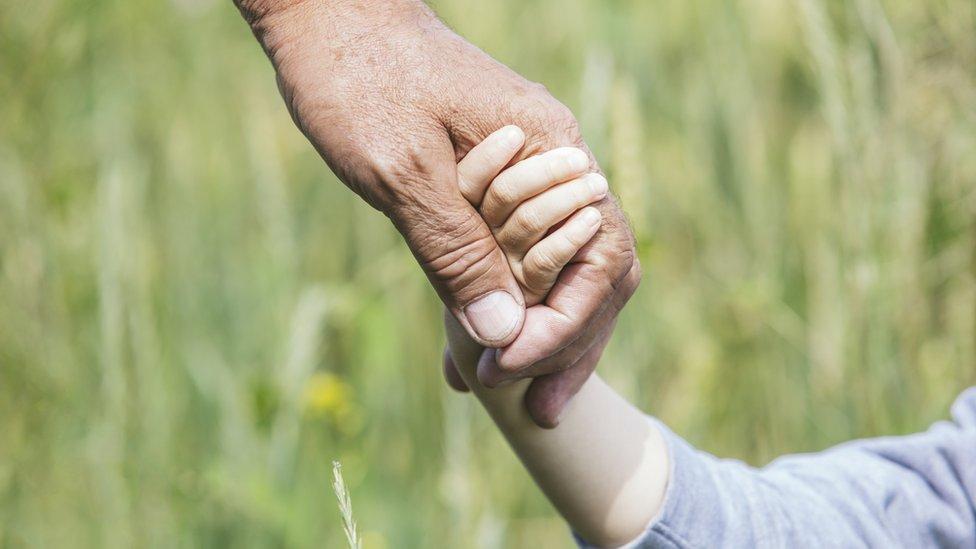 Un adulto da la mano a un niño