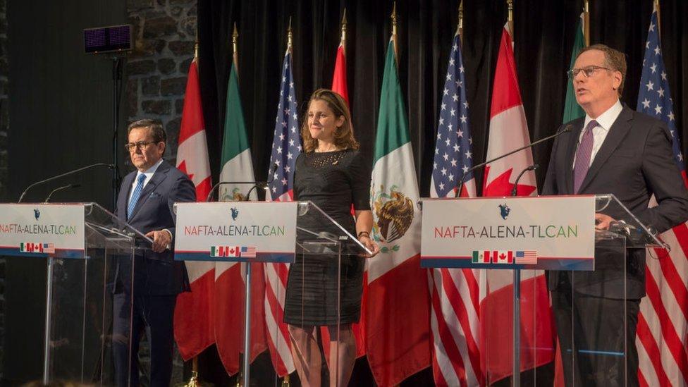 El secretario de Economía de México, Ildefonso Guajardo; la ministra de Asuntos Exteriores de Canadá, Chrystia Freeland, y el representante comercial de Estados Unidos, Robert Lighthizer.