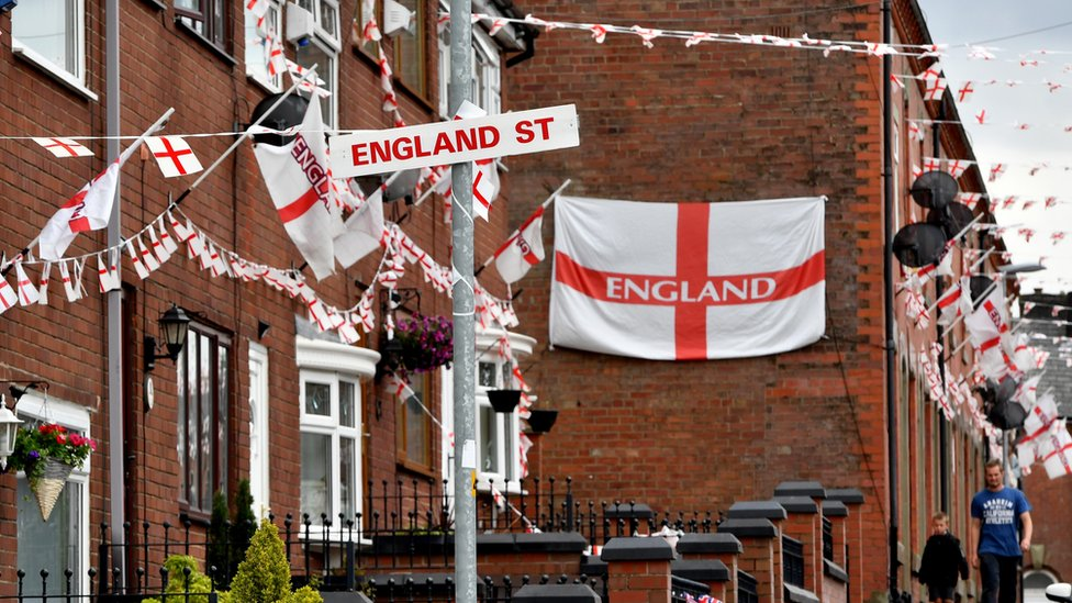 A street covered in England flags