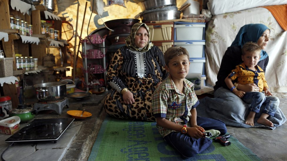 A Syrian family at a refugee camp in Sanliurfa, Turkey