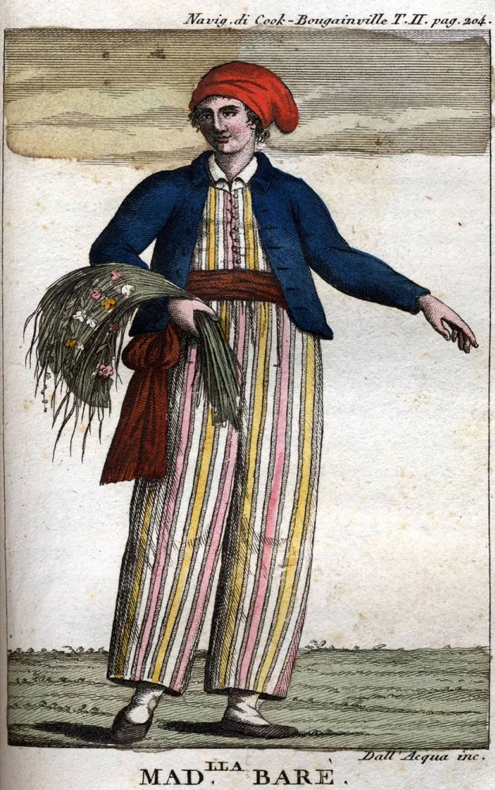 Retrato imaginado de Jeanne Baret vestida de marinero hecho postumamente, en 1817.