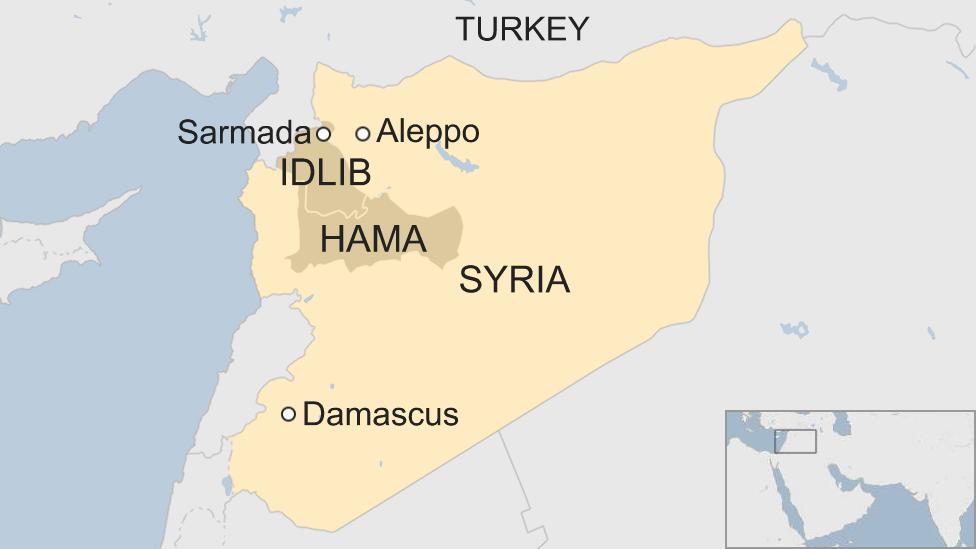 Map of Syria showing location of Sarmada, Idlib province