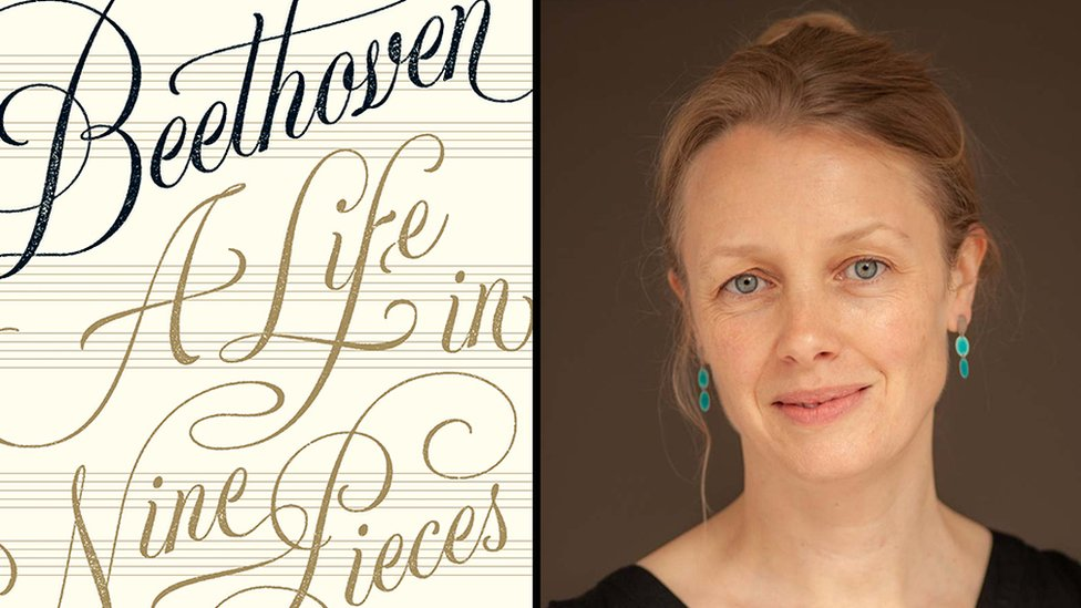"Composite image of the front cover of ""Beethoven: a life in nine pieces"" and a portrait of Laura Tunbridge"