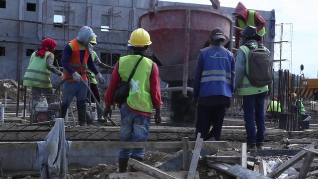 Construction workers in East Timor