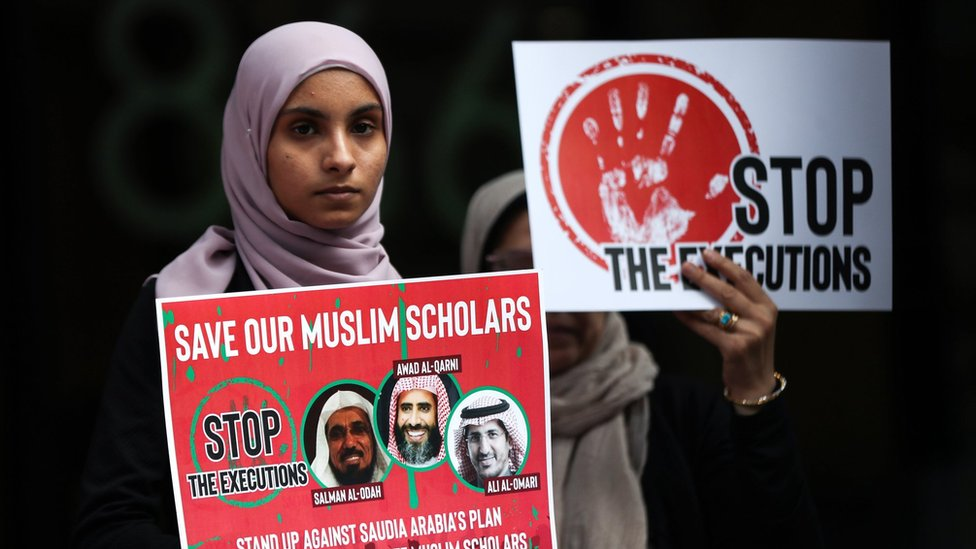 Women protest outside the Saudi consulate in New York on 1 June 2019 to protest against the trials of three clerics in Saudi Arabia