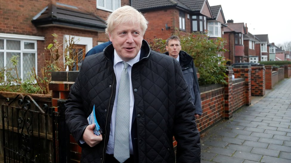 Britain's Prime Minister Boris Johnson campaigns in Mansfield on Saturday