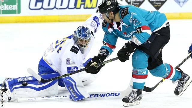 Action from Belfast Giants against Fife Flyers