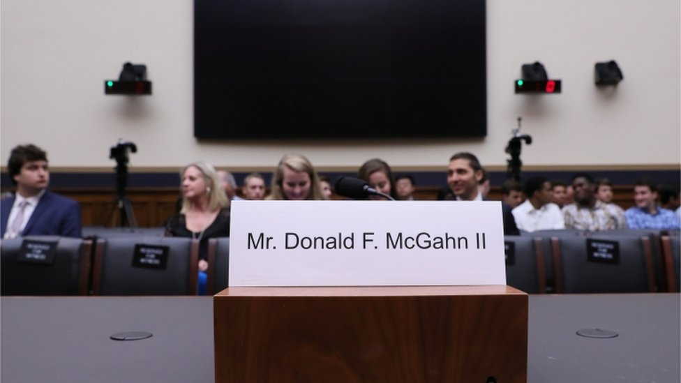 Empty seat at hearing for Donald McGahn