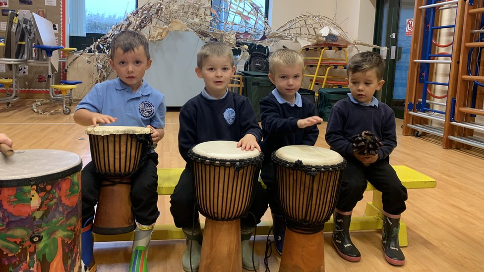 Pupils at St Issey Primary School