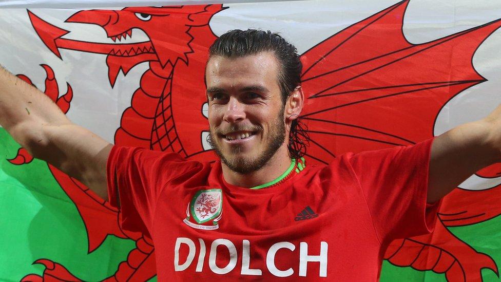Footballer Gareth Bale flying the flag for Wales