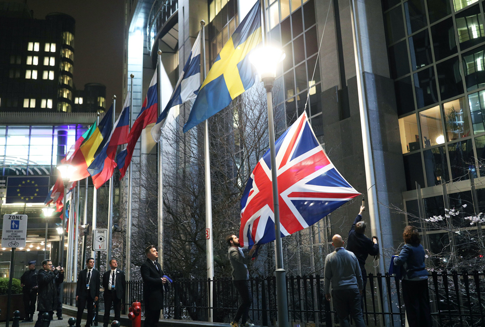 The union jack being taken down outside the European Parliament in Brussels