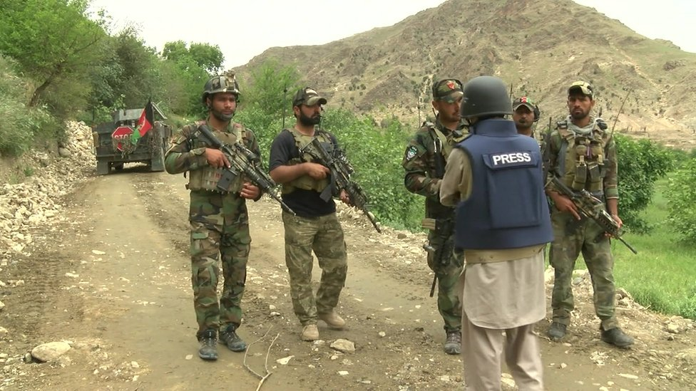 Afghan special forces close to the site of the MOAB strike