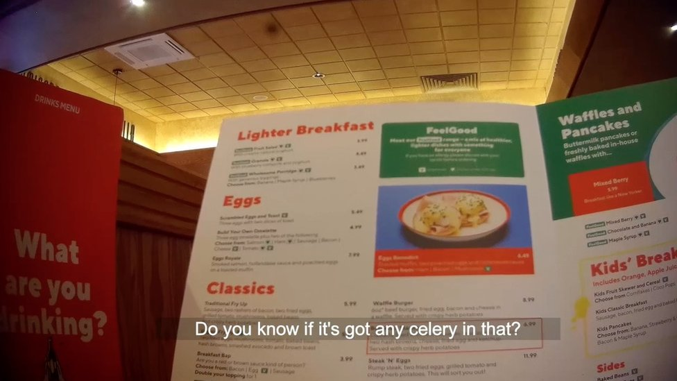 The menu at Frankie & Benny's
