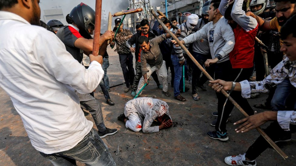 A group of men chanting pro-Hindu slogans beat Mohammad Zubair, a 37-year-old Muslim, in February