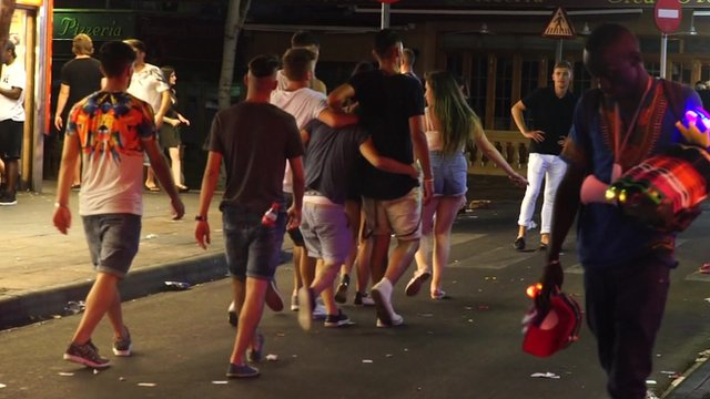 Revellers on the streets of Magaluf