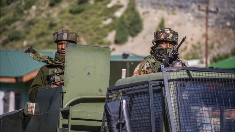 Indian troops near border with China