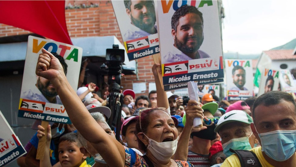 Supporters of President Maduro's son, Nicolas Ernesto at a rally in Venezuela