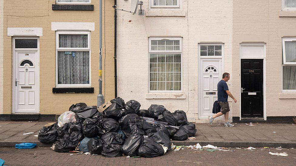 Bin bags piled up in Alum Rock, Birmingham