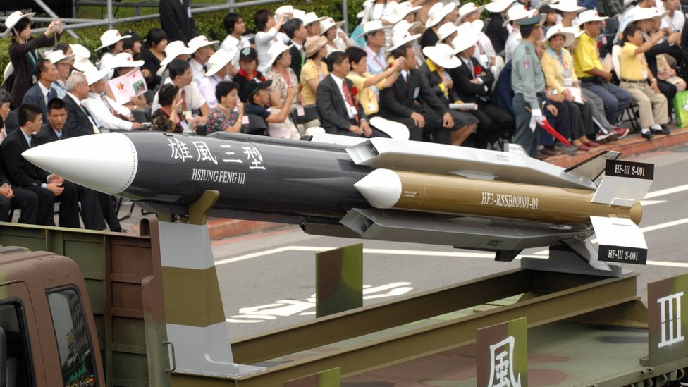 This file photo taken on 10 October 2007 shows a model of a home-grown supersonic Hsiung-feng III