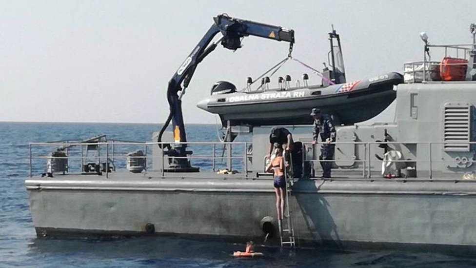 Handout from the Ministry of Defence of the Republic of Croatia showing the rescue of Kay Longstaff, a passenger aboard the Norwegian Star cruise ship