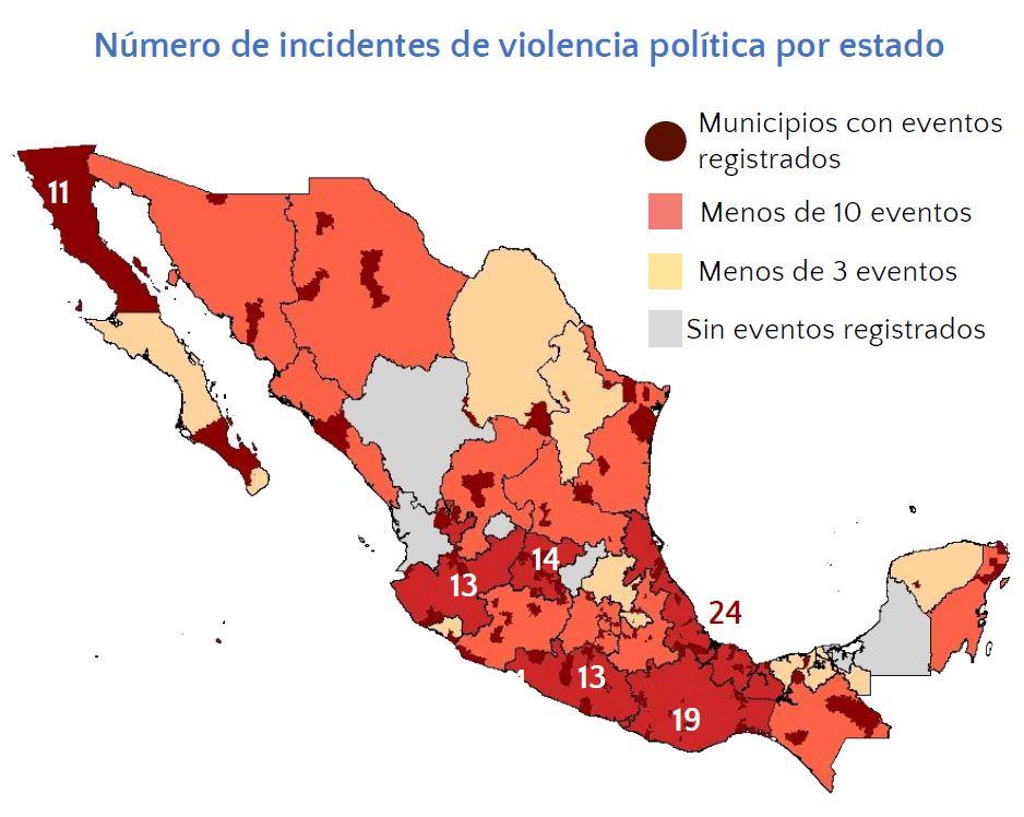 Mapa de casos de violencia entorno a las campañas en México