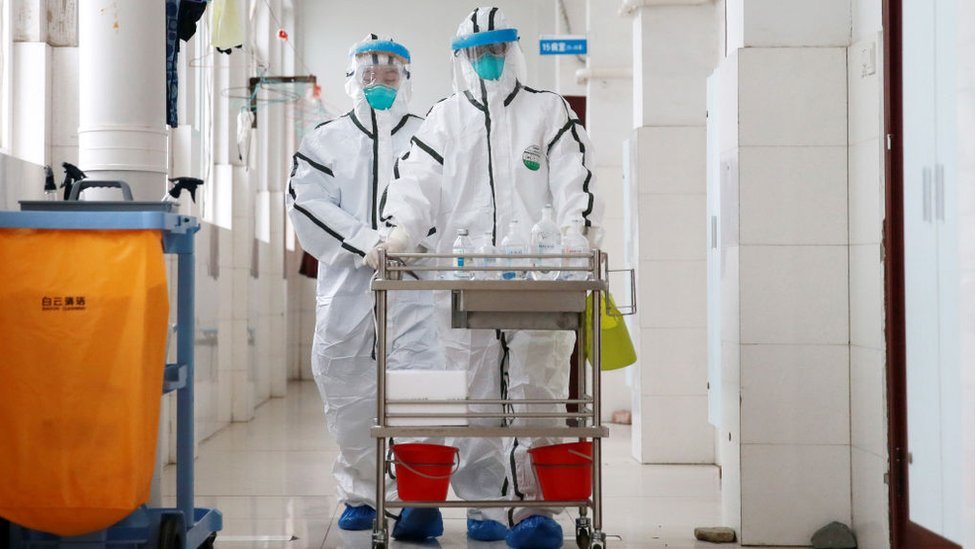 Zona de aislamiento en el hospital de Huaibei, China
