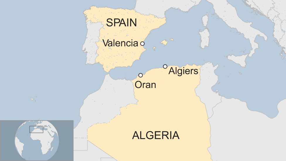 Map showing Oran, Algeria, and Valencia, Spain