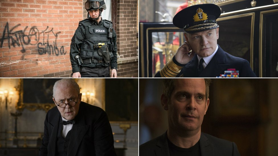 Clockwise from top left: Daniel Mays in Line of Duty; Jared Harris in The Crown; Tom Hollander in The Night Manager; John Lithgow in The Crown