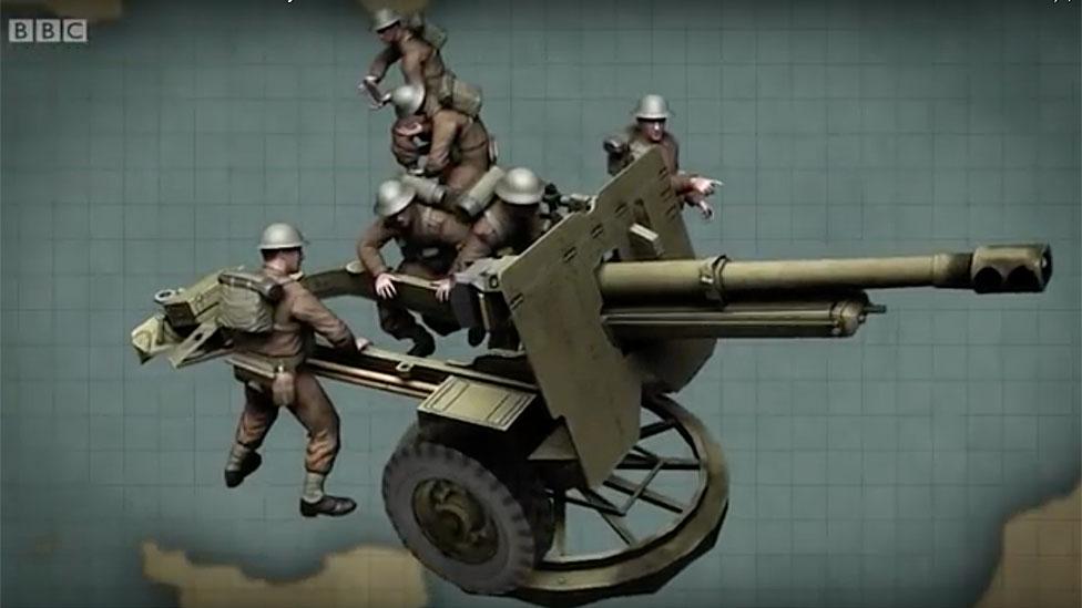 Ilustración del cañón de 25 libras