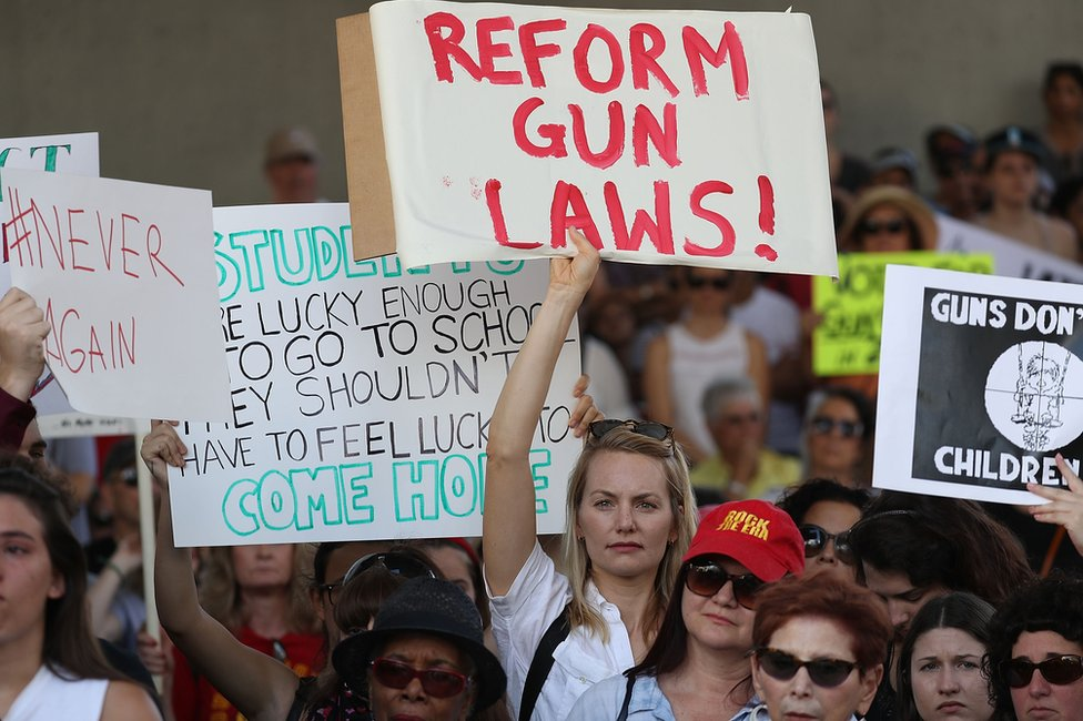 """A woman carries a sign reading """"reform gun laws"""", at the rally in Fort Lauderdale"""