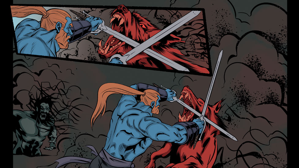 A panel from the Saltire graphic novel