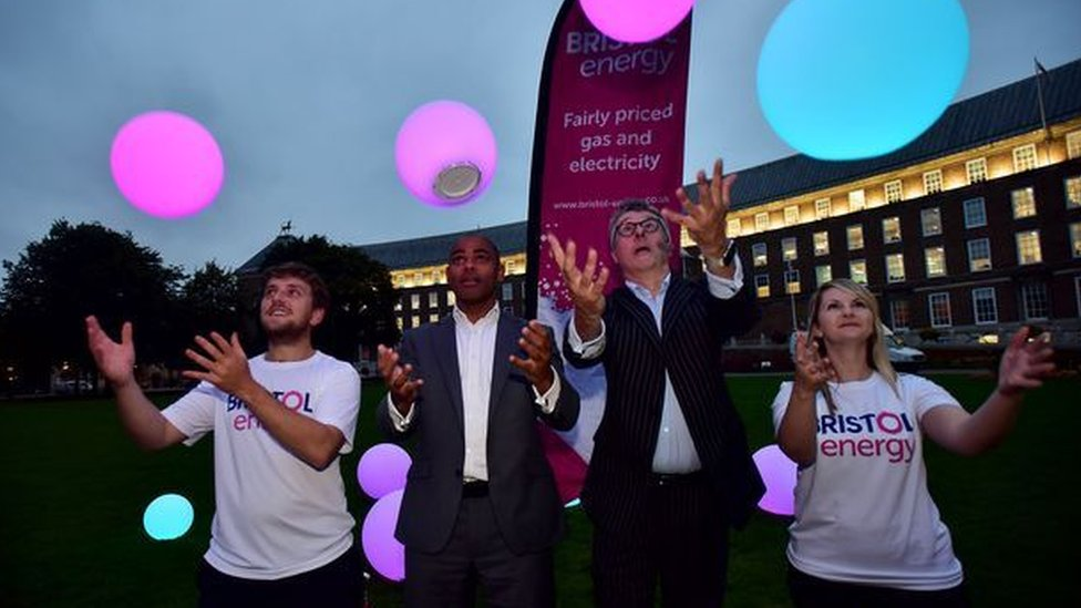 Bristol Energy managing director Peter Haigh (second from right) with Bristol mayor Marvin Rees