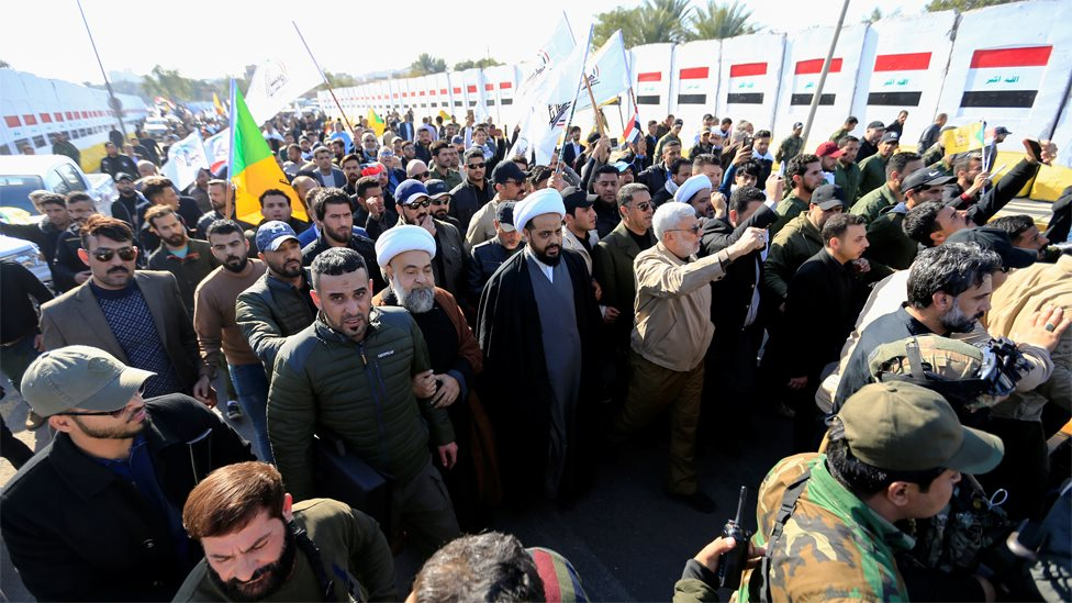 Protesters gather outside the US embassy in Baghdad (31 December 2019)