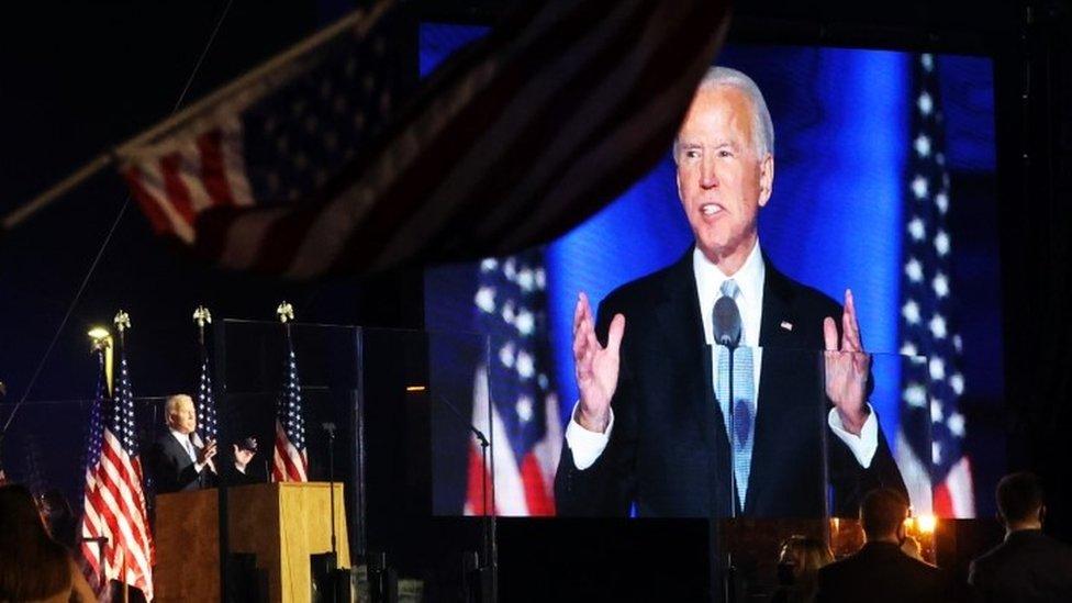 Joe Biden speaking after he was declared winner of 2020 election
