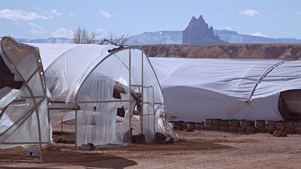 Abandoned hoop houses at one cannabis farm in Shiprock, New Mexico