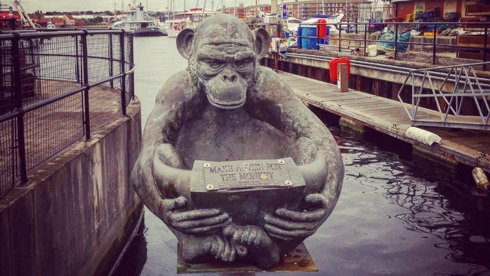 A monkey charity bowl in Hartlepool harbour
