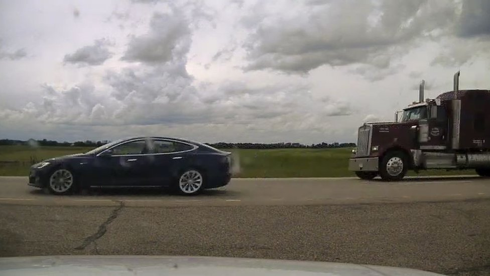 Image supplied by Alberta police of the detained Tesla car