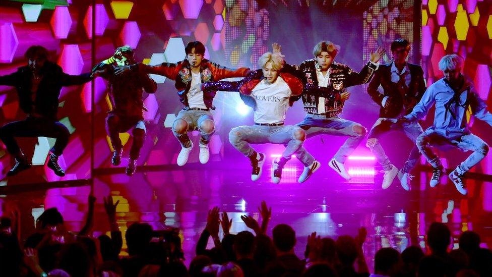BTS dancing onstage