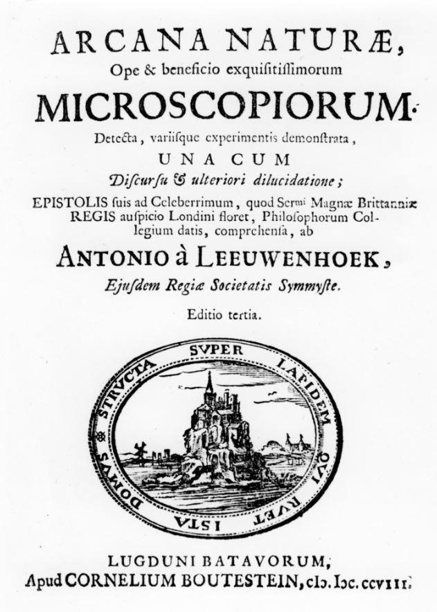 Un folleto con el nombre de Anton van Leeuwenhoek