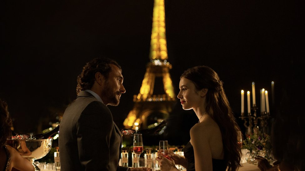 William Abadie and Lily Collins in Emily in Paris