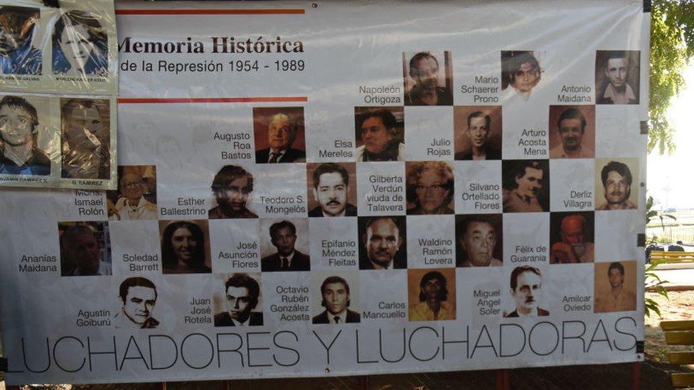 Un cartel con las víctimas del régimen de Alfredo Stroessner