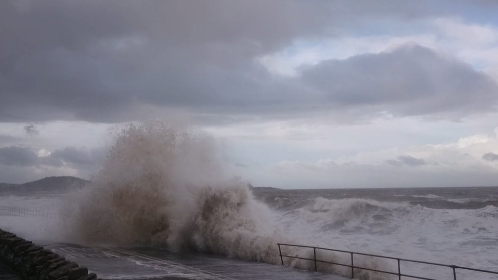 Stormy seas at Old Colwyn in 2017