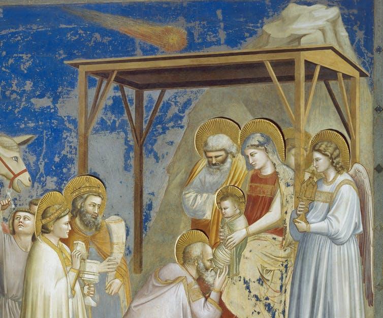 """Pintura """"Adoración de los magos"""", de Giotto, que muestra el cometa en la Capilla de los Scrovegni, Padua, Véneto, Italia."""