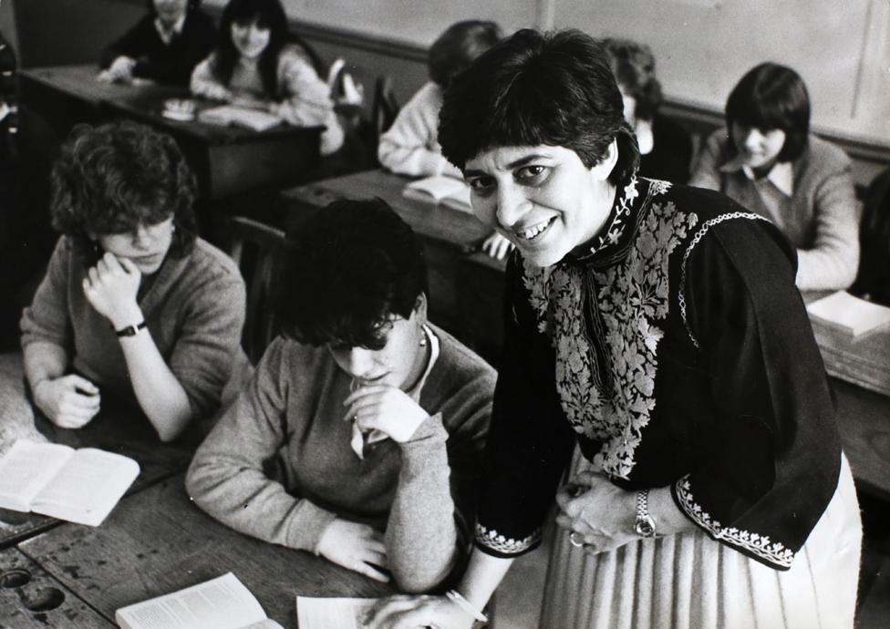 Pramila Le Hunte in the classroom