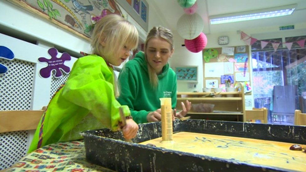 Children painting at a nursery in York