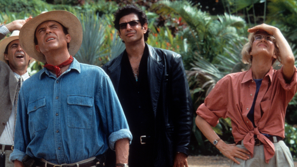 Sam Neill, Jeff Goldblum and Laura Dern in Jurassic Park